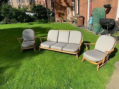 Ercol Windsor 203 3 Piece Suite: 3 Seater Sofa, 2 Armchairs - MID CENTURY DESIGN • 1,599£