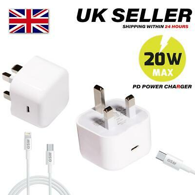 USB-C Fast Charging 20W PD Charger Cable Plug For IPhone IPhone 12 Pro 11 XR MAX • 3.50£
