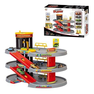 Kids Boys Car Parking 3 Storey Toy Garage Petrol Station Play Set 5 Cars 8988A7 • 19.99£