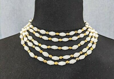 £110 • Buy Beautiful  Vintage White Gold-tone Three Strand Necklace By Trifari Jewellery
