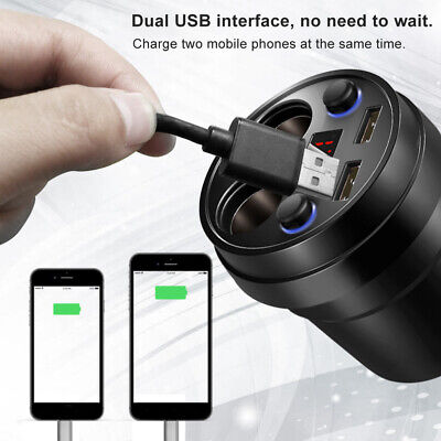 80W USB Car Charger 2 Socket Cigar Lighter Splitter + 2 3.1A USB Port Fast Car • 9.71£