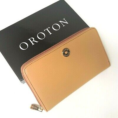 AU119.95 • Buy RRP$295 NEW OROTON Wallet Zip Large Clutch Purse Tan Caramel Leather