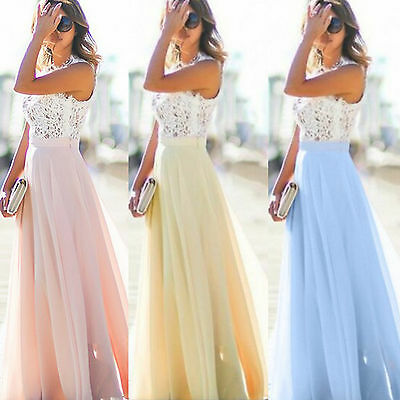 AU16.99 • Buy Women Chiffon Lace Sleeveless Maxi Dress Cocktail Bridesmaid Wedding Prom Party