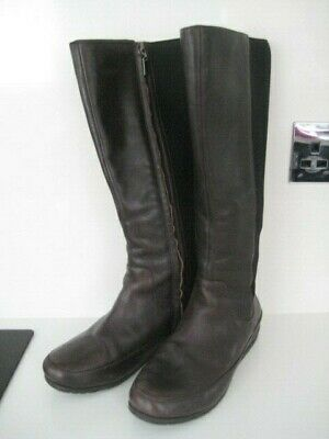 Woman Girl Size 4 37 Fitflop  Side Zip Stretch Back Dark Brown Leather Due Boots • 74.99£