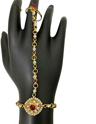 A PAIR Gold Costume Jewellery Kundan Diamonds With Pearls Hand Panja With Ring • 4.99£