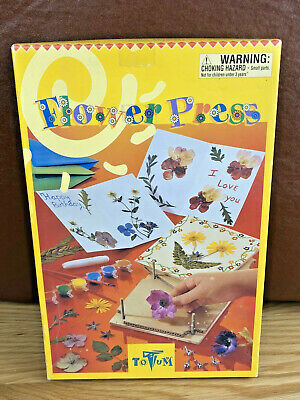 NEW Vintage Childrens Wooden Flower Press Kit,Craft Activity Make Your Own Cards • 9.50£