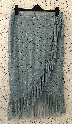New Look Blue Floral Faux Wrap Mesh Net Frill Lined Skirt Size 16 • 13.99£