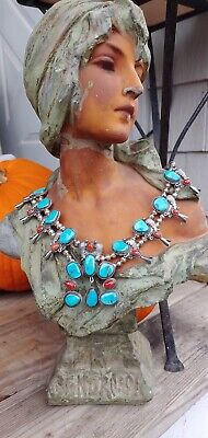 "$ CDN1110.11 • Buy Native American Navajo Vintage Squash Blossom Sterling 21"" Turquoise Necklace"