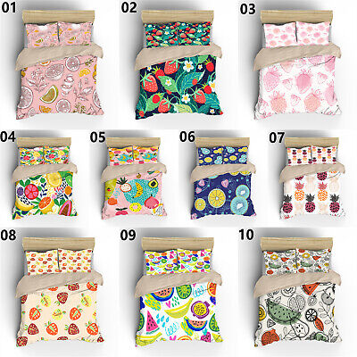 AU79.99 • Buy 3D Fruit Single/Double/Queen/King Bed Duvet Doona Quilt Cover Set Pillowcase