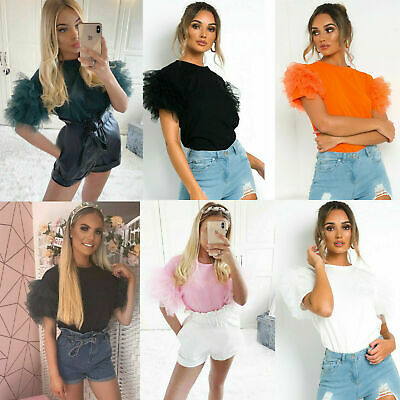 Womens Ladies Scoop Neck Frill Mesh Puff Short Sleeve Party Tee T Shirt Top • 9.99£