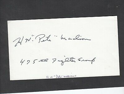 £4.99 • Buy  Paper  SIGNED   H W 'Pete' Madison 475 Fighter Group US   Pilot   WW2