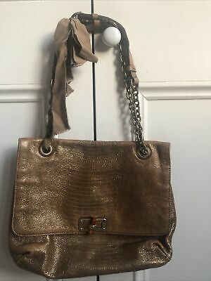 Gold Lanvin Happy Bag Croc Effect Chain Strap • 119£
