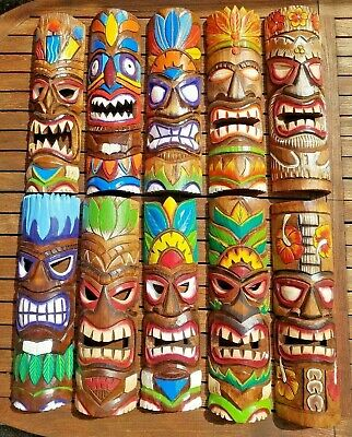 £17.49 • Buy Tiki Mask Wood Carving ~ Hand Carved & Painted Wall Hanging Ornament 50cm Long