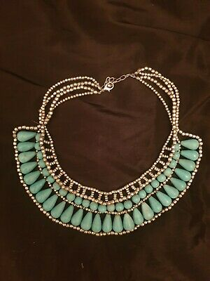 £12 • Buy Beaded Collar Necklace Silver And Turquoise - Grecian Style Costume Jewellery