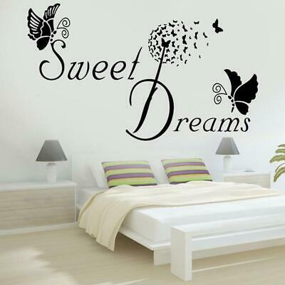 SWEET DREAMS Butterfly LOVE Quote Wall Stickers Bedroom Removable Decals DIY • 2.19£