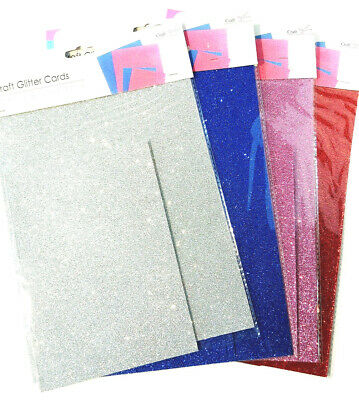 Craft Fine Fixed Glitter Card 4pc A4 + A5 Set Sparkle Art Pink Red Blue Silver • 3.49£