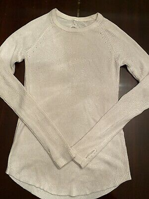$ CDN74 • Buy Lululemon Cabin Yogi Long Sleeve Sz 6 Neutral Blush Heathered White Boolux