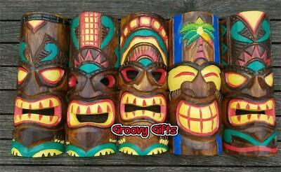 £12.95 • Buy Tiki Mask Wood Carving Hand Carved & Painted Wall Hanging Wooden Ornament 30cm