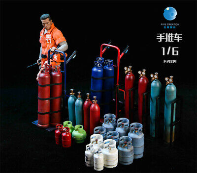 FIVETOYS F2009 1/6 Metal Trolleys Oxygen Gas Canisters Model Scene Props Presale • 75.84£