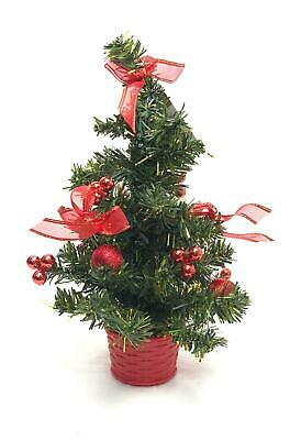 30cm Small Table Top Artificial Christmas Tree Baubles Mini Tree • 6.99£
