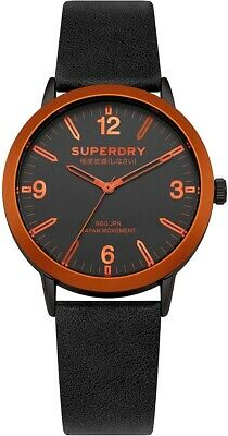 Superdry Mens Watch With Black Dial And Black Leather Strap SYG259B • 34.99£