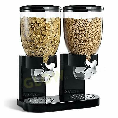 Double Cereal Dispenser Large 500g Keep Cereal Granola Oats Rice Dry Fresh Crisp • 16.95£