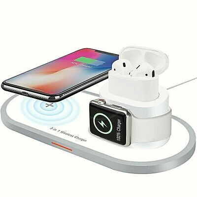AU47.99 • Buy 3 In 1 QI Wireless Charger Dock For Apple Watch IPhone 12/ 12 MIni 11 Pro Airpod