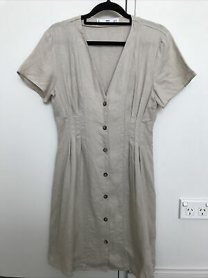 AU39 • Buy MNG Mango 100% Pure Linen Dress Beige Dune Stone Size S Or 8