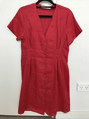 AU20 • Buy MNG Mango 100% Pure Linen Dress Red Size S Or 8 New