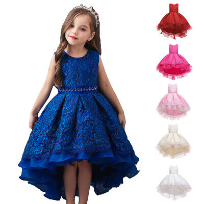 Fancy Kids Flower Girls Tutu Dress Bridesmaid Princess High Low Party Prom Gown • 17.62£