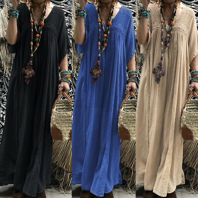 AU15.26 • Buy AU STOCK ZANZEA Women Summer Long Maxi Sundress Kaftan Abaya Caftan Lace Dress