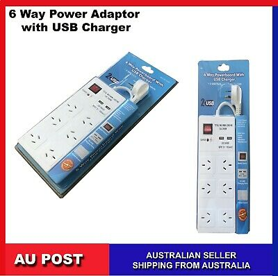 AU24.99 • Buy  6 Way Power Board With 2 X USB Charge Surge Protector Master Switch