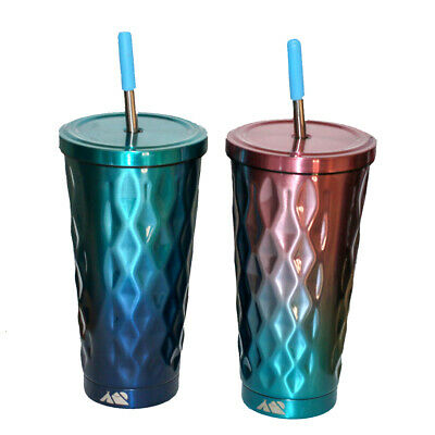 £15 • Buy Steel Cup With Screw Lid And Straw Insulated Metal Mug Travel Stainless Tumbler