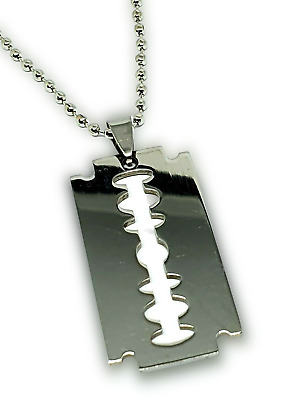 £3.85 • Buy Razor Blade Pendant Dog Tag Necklace Silver Stainless 22  Steel Chain Punk Rock