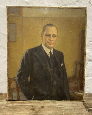 Antique 1930's Male Portrait Oil On Canvas Painting Art • 220£