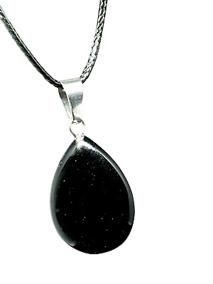 £4.29 • Buy Obsidian Teardrop Natural Crystal Gemstone  Pendant Tie Cord Protection Necklace