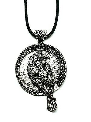 Raven Pendant Norse Viking Odin All Father Rune Double Sided Cord Necklace • 6.49£