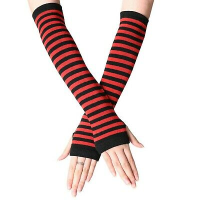 £3.45 • Buy Fingerless Thumb Gloves Arm Warmers Striped Ladies Women Mitten Black And Red