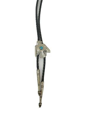 Bolo Tie Silver Bird Blue Stone Turquoise Braided Leather String • 16.28£