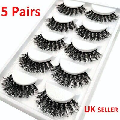 NEW 5Pair 3D Mink False Eyelashes Wispy Cross Long Thick Soft Fake Eye Lashes 71 • 3.29£