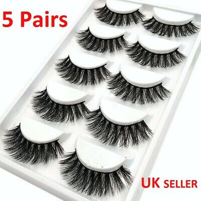 NEW 5Pair 3D Mink False Eyelashes Wispy Cross Long Thick Soft Fake Eye Lashes 27 • 2.89£
