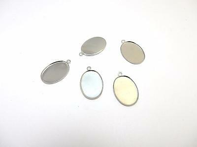 £2.95 • Buy  Silver Plated Oval Pendant Bezel Charms 25 X 18 Mm Cabochons To Make Jewellery