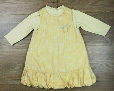 Designer Marese Baby Girls Lined Yellow Long Sleeve Dress Age 12 Months VGC • 4.50£