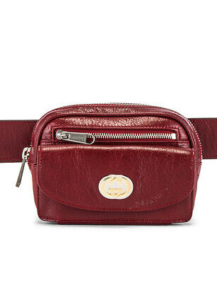 AU685.14 • Buy Gucci GG Crackled Morpheus Calfskin Leather Red Belt Bag 70/28