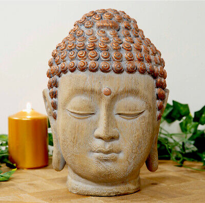 Large Thai  Wooden  And Copper Finish  Buddha  Head Statue  26 Cm • 18.50£