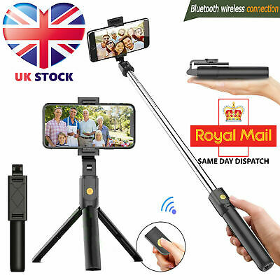 Bluetooth Selfie Tripod Telescopic Stick Remote Monopod Extendable Phone Stand • 7.49£