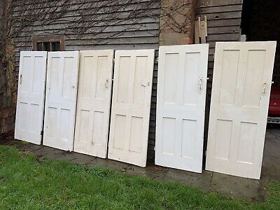 """£75 • Buy Matching Set Of 6 Reclaimed 4 Panelled Pine Cottage Doors  27 - 30 X 71 1/2"""""""