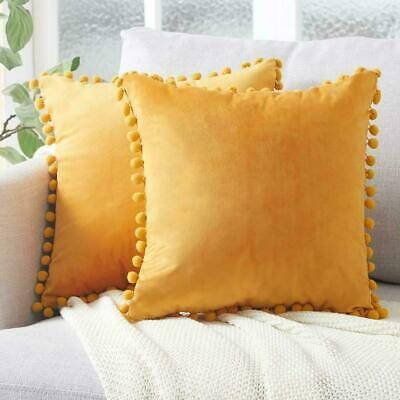 UK Soft Velvet Cushion Covers Pompoms Tassel Pillowcase Sofa Decor 40*40cm 16''  • 4.15£