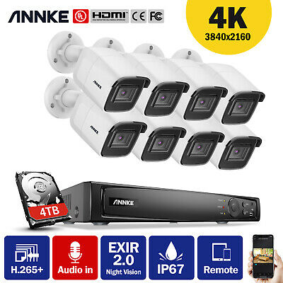 AU206.99 • Buy ANNKE HD 4K 8CH POE NVR 8MP H.265 Bullet CCTV Home Security Camera System  0-4T