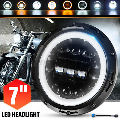 AU47.99 • Buy 7'' Motorcycle LED Projector Headlight DRL Hi-Lo Halo Ring Lamp Round Cafe Racer